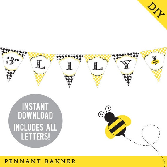 INSTANT DOWNLOAD Bumblebee Party, Bee Party - DIY printable pennant banner - Includes all letters, plus ages 1-18