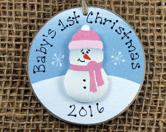 Snowman Baby's First Christmas Ornament, Girl