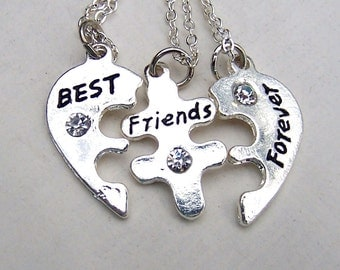 Best Friends Necklace Silver Best Friends Jewelry Set of Three