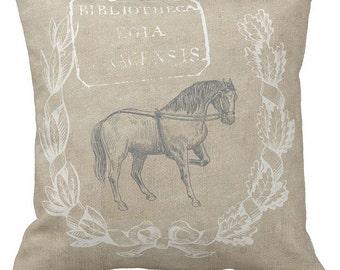 Pillow Cover Equestrian Decor Farmhouse Horse Grain Sack Pillow Cover