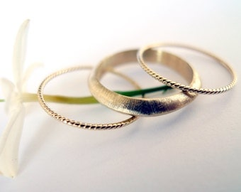 Eclipse Ring Set In Gold. 14K Woman Gold Rings. Set of 3 Bands: 1 Triangle Profile Gold Ring AND 2 Rope Gold Rings. Unique Handmade Jewelry.