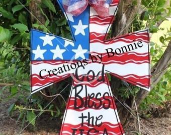 Patriotic flag Cross Door Hanger