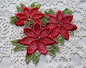 Christmas Pointsetta Lace Applique Flowers Hand Dyed Venise Crazy Quilt Embellishment