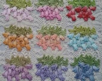 Bell Flower Hand Dyed Venise Lace Crazy Quilt Embellishment Applique Motif
