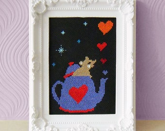The Dormouse Cross Stitch Pattern - Alice in Wonderland Cross Stitch -Modern Cute Cross Stitch Pattern - Instant Download