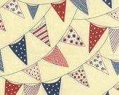 Red White & Free, Buntings in Cream by Sandy Gervais - fabric by Moda Fabrics