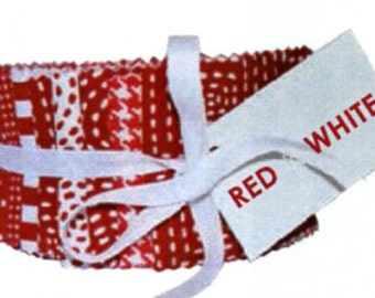 """Red and White 2 1/2"""" Strip Roll, 40 pcs, Michael Miller"""