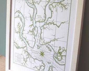 Charleston, South Carolina, Letterpress Map Print (Olive Green)