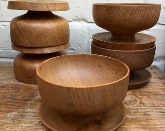 Vintage Set of 5 Hand Turned Footed Elm Bowls