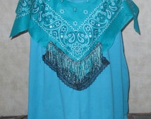 Cij sale 5 XL PLUS SIZE Tee  Pretty Bandana Scarf sewn All around the neck Wearable art bo ho tee lace and beading trim