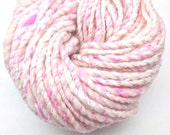 Sparkly pink handspun yarn in hand dyed merino wool, silk and bamboo silk - 37 yards, 1.9 ounces/54 grams