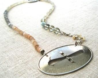 Vintage scissor sharpener assemblage necklace - vintage assemblage necklace - boho bohemian necklace -strand necklace - statement necklace