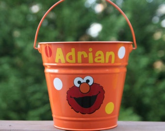 Personalized bucket with Elmo and polka dots great as a toy, baby shower, Halloween or Easter pail