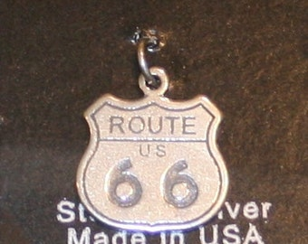Free USA Shipping! Sterling Silver Route 66 Charm