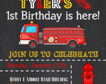 "Birthday Party Invitation ""Fire Truck"""