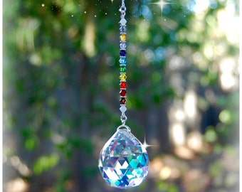 12 Chakra Crystal Suncatcher, Rearview Mirror Car Charm, Window Decoration, Meditation Room Decor, 30mm Prism
