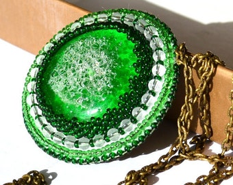 Green beaded chain necklace OOAK seed bead embroidery
