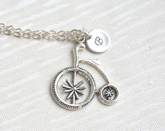 Silver Bicycle Necklace, Initial Bicycle Necklace Bicycle Charm Necklace Personalized Necklace Best Friend Sport Necklac Best Friend Jewelry