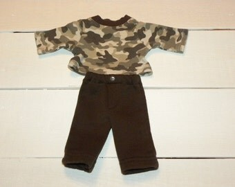 Camouflage Tshirt and Brown Pants - 14 - 15 inch boy doll clothes