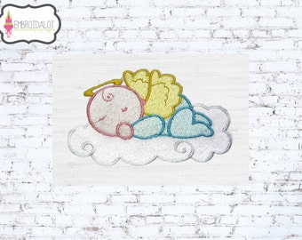 Baby machine embroidery design. Cute sleepy baby angel with wings and halo, filled stitch. Angel baby embroidery.