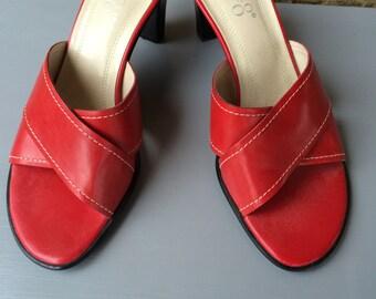 Vintage Franco Sarto  Red Slide Heels