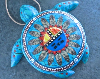 Sea Turtle Box, Turquoise Box, Native American Box, Sunface Kachina Box, Sea Turtle Sculpture, Home Decor, Wall Hanging
