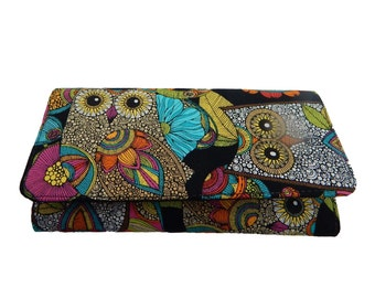 "USA Handmade Bifold Woman Wallet with ""OWLS"" Halloween Gothic Pattern, New, Rare"