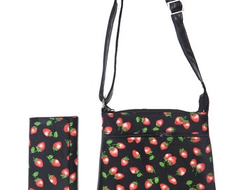 "A Cross Body Bag & A Matching Wallet With ""DELICIOUS Strawberries"" FRUIT  Pattern, Cotton, New , (Only 2 Items)"