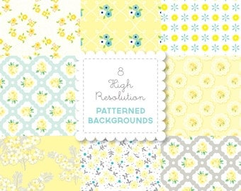 YELLOW Florals  PATTERNED BACKGROUND set in Bright Pastels for personal and commercial use - digital papers, vintage, retro