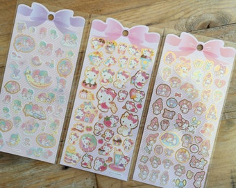Sanrio  pastel colorgold foil stamping Sticker Sheet- Hello Kitty, Little Twin Starts or My Melody at your Choice