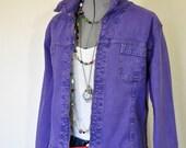 "Violet Sz 12 Medium Denim JACKET - Purple Dyed Upcycle French Dressing Cotton Denim Trucker Jacket - Adult Womens Size 12 Medium (42"" chest)"