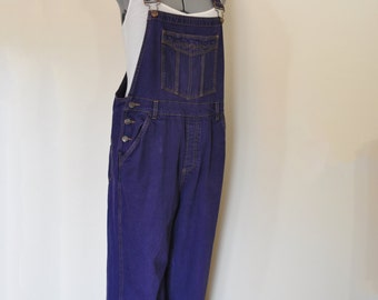 Purple Jrs. Large Bib OVERALL Pants - Violet Dyed Upcycled No Boundaries Denim Overall - Adult Womens Size 11/13 Juniors Large (38 W x 28 L)