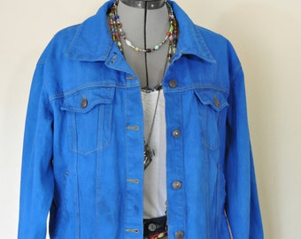 Blue Large Denim Jean JACKET - Cobalt Blue Dyed Upcycled Vintage Faded Glory Denim Trucker Jacket - Adult Womens Size Large (48 chest)