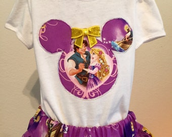 Disney's Tangled twirly skirt & shirt set perfect for Disney, birthday parties, and photo ops