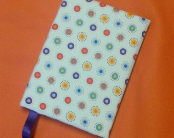 Fabric Covered Notebook, Circles Print Fabric Covered Journal