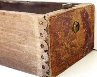 vintage wood drawer pencil box