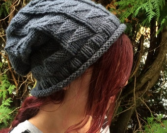 Kilted Slouchy Hat Knitting Pattern Instant Download