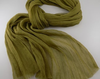 Handmade Silk Scarf / Wrinkle Scarf / Crinkle Scarf --- Moss