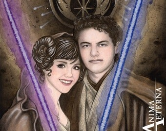 Custom Traditional Painting, Portrait or Illustration Watercolor Commission - Classic Portrait - 2 Characters