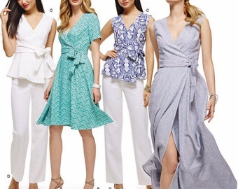 Wrap Dress Pattern, Wrap Top Pattern, Boot Cut Pants Pattern, Simplicity Sewing Pattern 8137