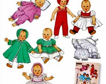 Baby Doll Clothes Pattern, Doll Petticoat Pattern, Doll Bloomers Pattern, Sz 12 to 22 inch Dolls, Simplicity Sewing Pattern 4707
