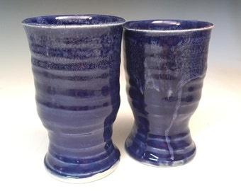 Pottery Wine Goblet Pair in Cobalt Blue and White
