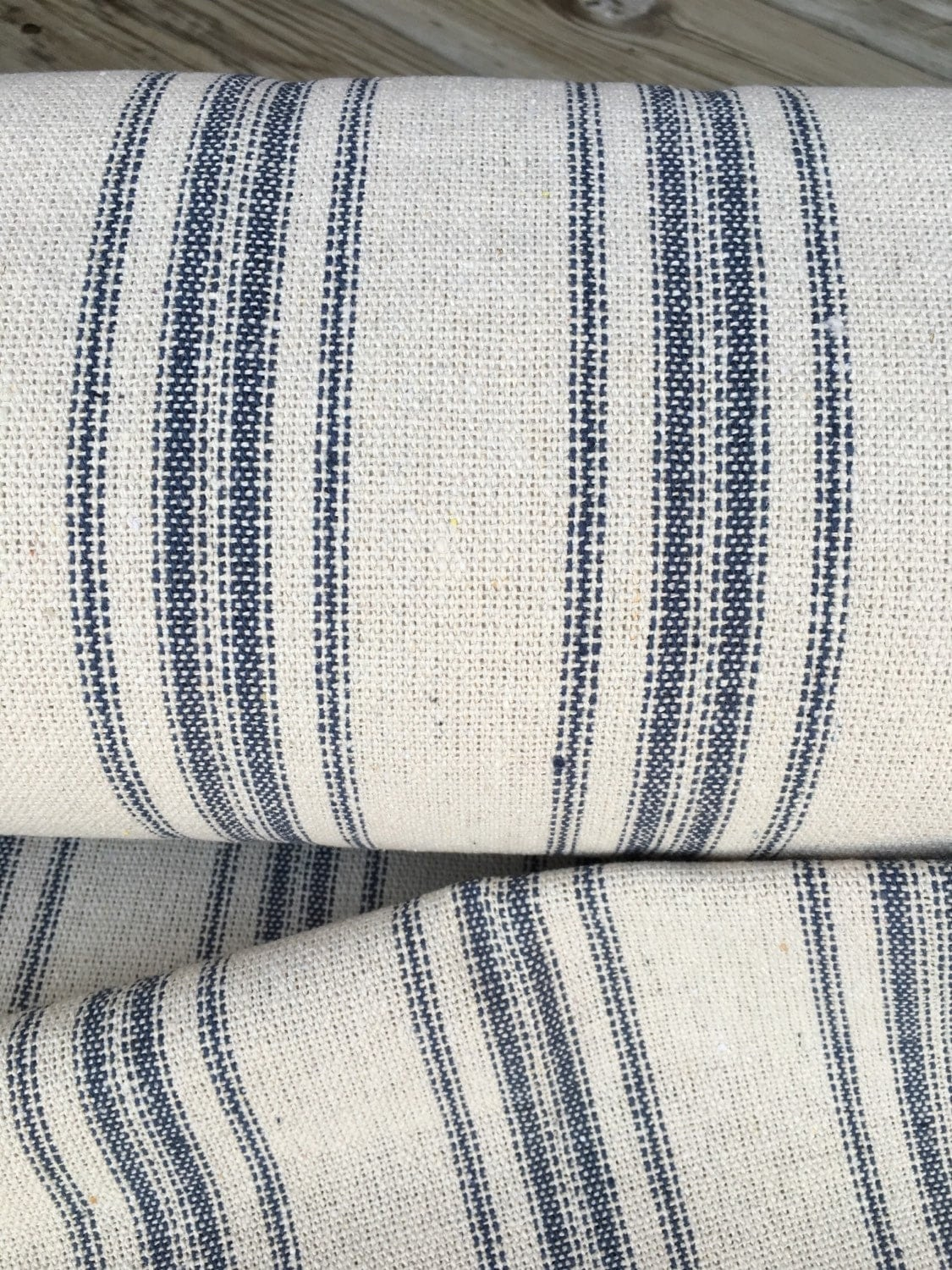 Grain Sack Fabric Blue Stripe Vintage Inspired Sold By The