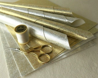 Sparkly Silver or Gold Tinsel Felt - You choose 6x8 or 8x12 inches