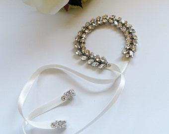 Wedding Bridal Party Rhinestone Crystal Bracelet Cuff with ribbon closure