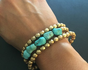 Beaded bracelets, faceted matte gold czech glass and turquoise gemstone beads