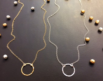 Necklace - Eternity Necklace - Gold Circle Necklace - Silver Circle Necklace