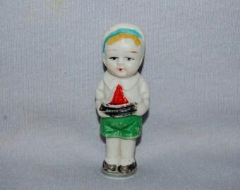 Bisque Penny Doll, boy sailboat, frozen charlotte, vintage dolls
