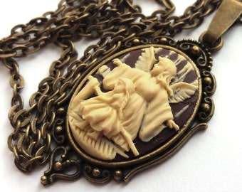 Guardian Angel Necklace, Brown and Cream Angel Cameo Necklace, Safe Journey, Angel and Child, Antiqued Bronze