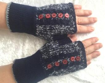 Blue melange  fingerless gloves  WOOL  with mohair